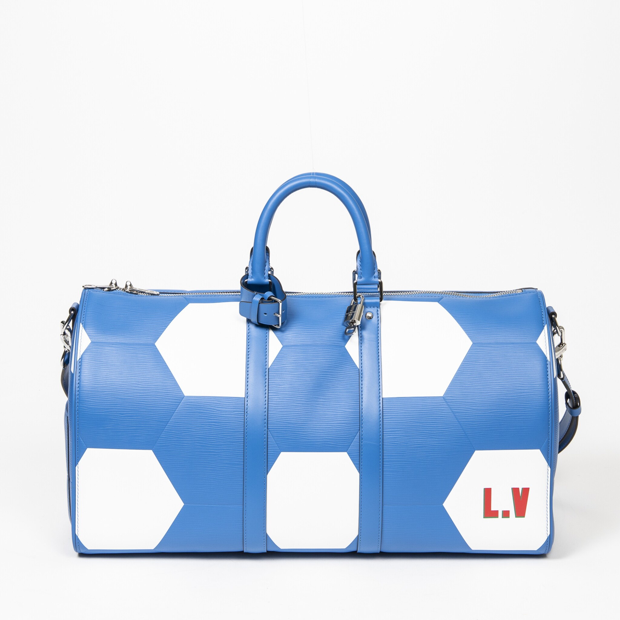 View full screen - View 1 of Lot 110. Blue and White World Cup 50 Keepall Bandouliere in Apollo Leather with Palladium Brass Hardware, 2018.