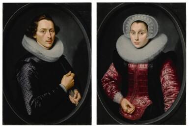 View 1. Thumbnail of Lot 518. Portrait of a man; Portrait of a woman.