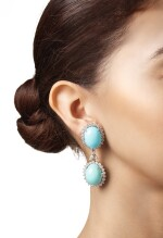 PAIR OF TURQUOISE AND DIAMOND PENDANT-EARCLIPS