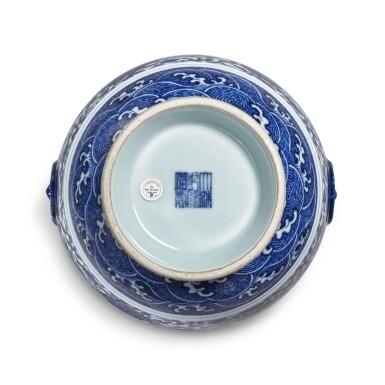 View 5. Thumbnail of Lot 77. A fine blue and white 'floral' vase, Seal mark and period of Qianlong | 清乾隆 青花纏枝花卉紋鋪首耳尊 《大清乾隆年製》款.
