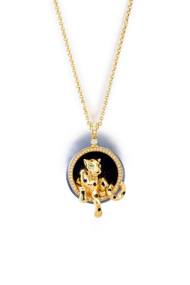 View 3. Thumbnail of Lot 1793. 'Panthère' Gold, Lapis Lazuli and Diamond Pendent Necklace | 卡地亞 | 'Panthère' K金 配 青金石 及 鑽石 項鏈.