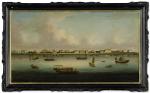 A LARGE VIEW OF SHANGHAI: THE BUND QING DYNASTY, 1850-60   清 1850-60年 上海外灘遠眺 油彩 裝框