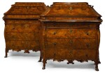 A PAIR OF NORTH ITALIAN WALNUT AND BURR-WALNUT BUREAUX, LOMBARDY MID-18TH CENTURY
