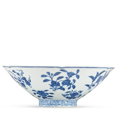 View 5. Thumbnail of Lot 131. A finely painted blue and white lobed 'fruit and flower' bowl, Xuande mark and period | 明宣德 青花折枝花果紋葵口碗  《大明宣德年製》款.