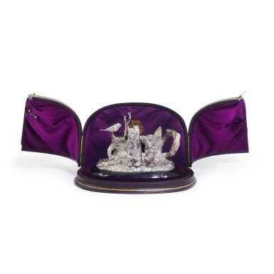 View 2. Thumbnail of Lot 23. A Victorian silver novelty condiment stand, E.H. Stockwell, London, 1875.