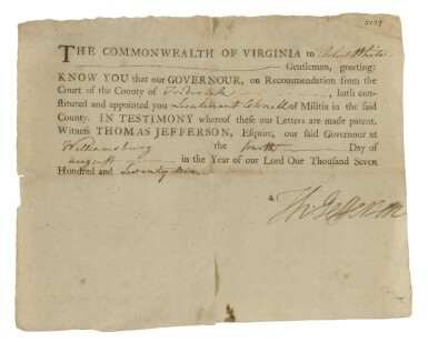 "JEFFERSON, THOMAS | A Revolutionary War Virginia militia appointment signed (""Th: Jefferson"") as Governor of Virginia"