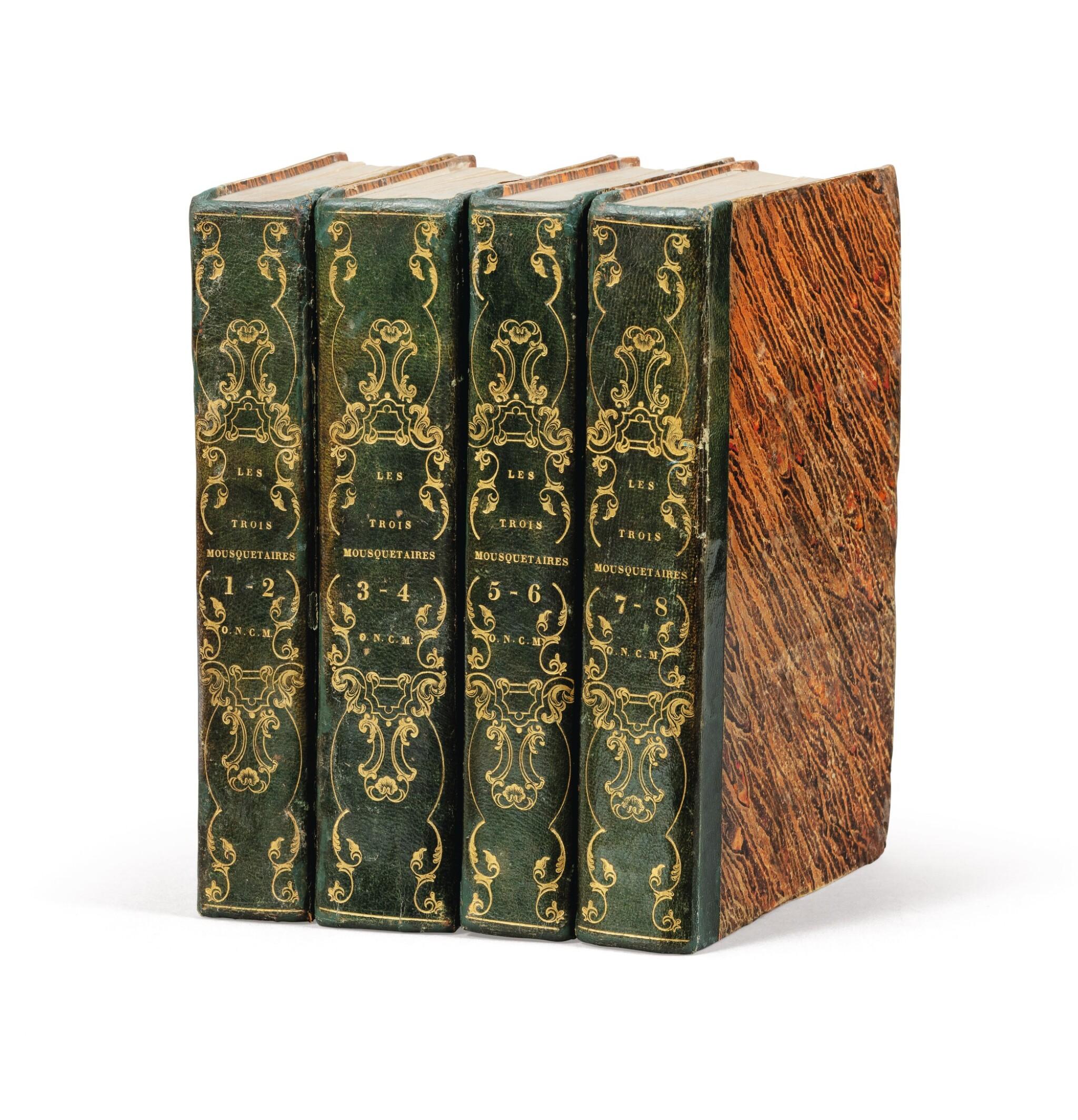 View full screen - View 1 of Lot 95.  Les Trois mousquetaires. 1844. 8 t. en 4 vol. Rare édition originale. Reliure de l'époque, avec chiffre O.N.C.M.