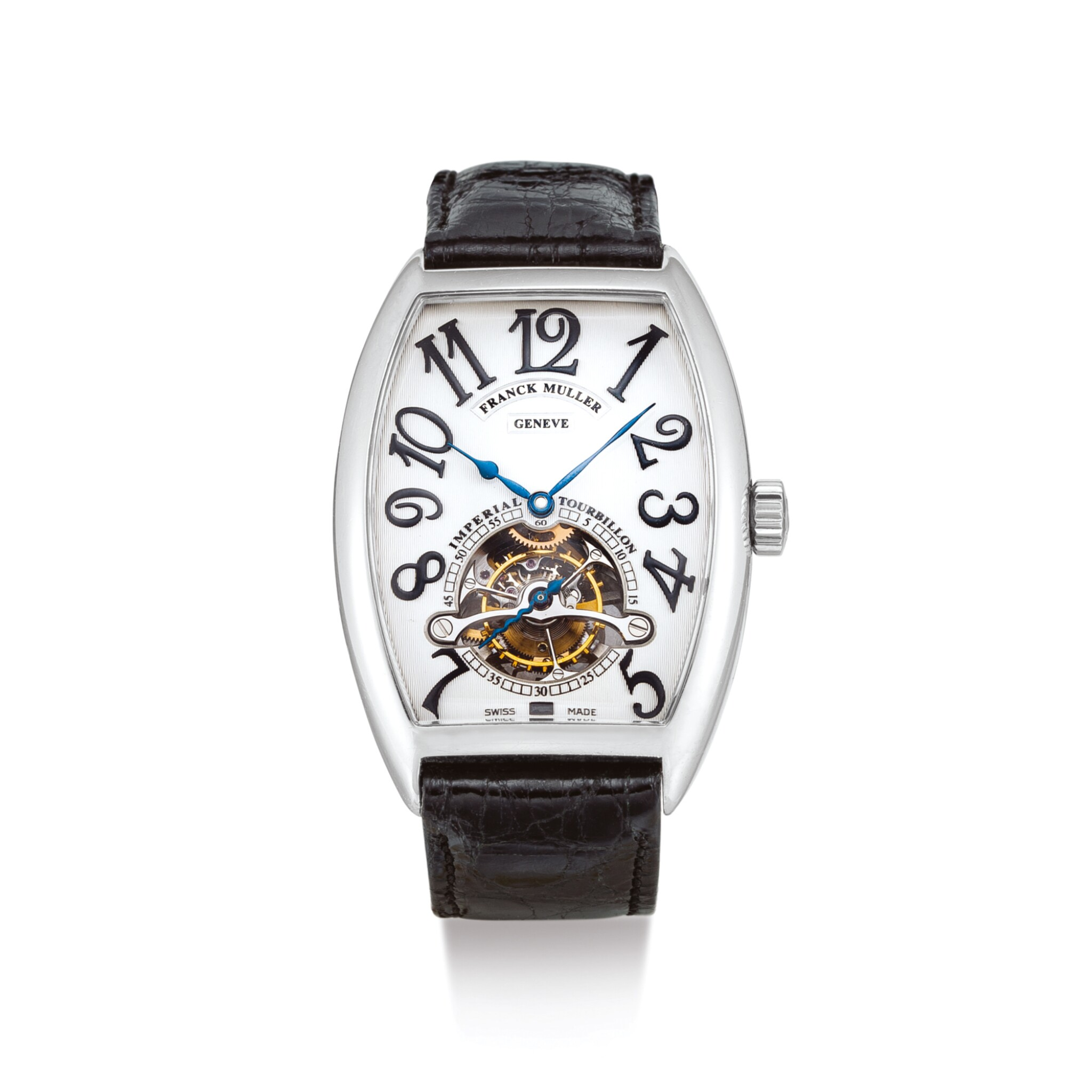 """View full screen - View 1 of Lot 2010. FRANCK MULLER     IMPERIAL TOURBILLON, REFERENCE 5850T  A PLATINUM TOURBILLON WRISTWATCH, CIRCA 2008   """"Imperial Tourbillon 型號5850T 鉑金陀飛輪腕錶,機芯編號62157,錶殼編號21,約2008年製""""."""