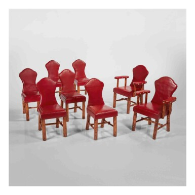 View 1. Thumbnail of Lot 311. Set of Eight Keyhole Chairs.