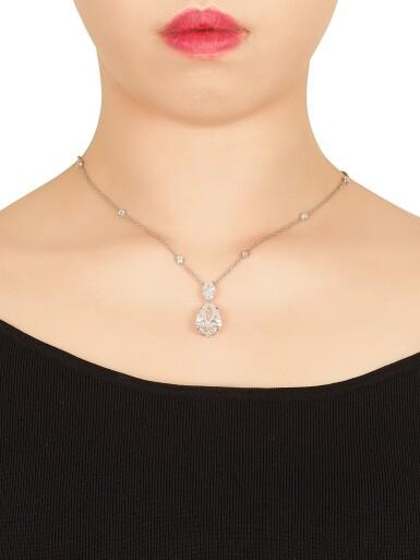 View 2. Thumbnail of Lot 1715. Diamond Necklace   蒂芙尼   10.01克拉 梨形 D色 完美無暇 鑽石 項鏈.