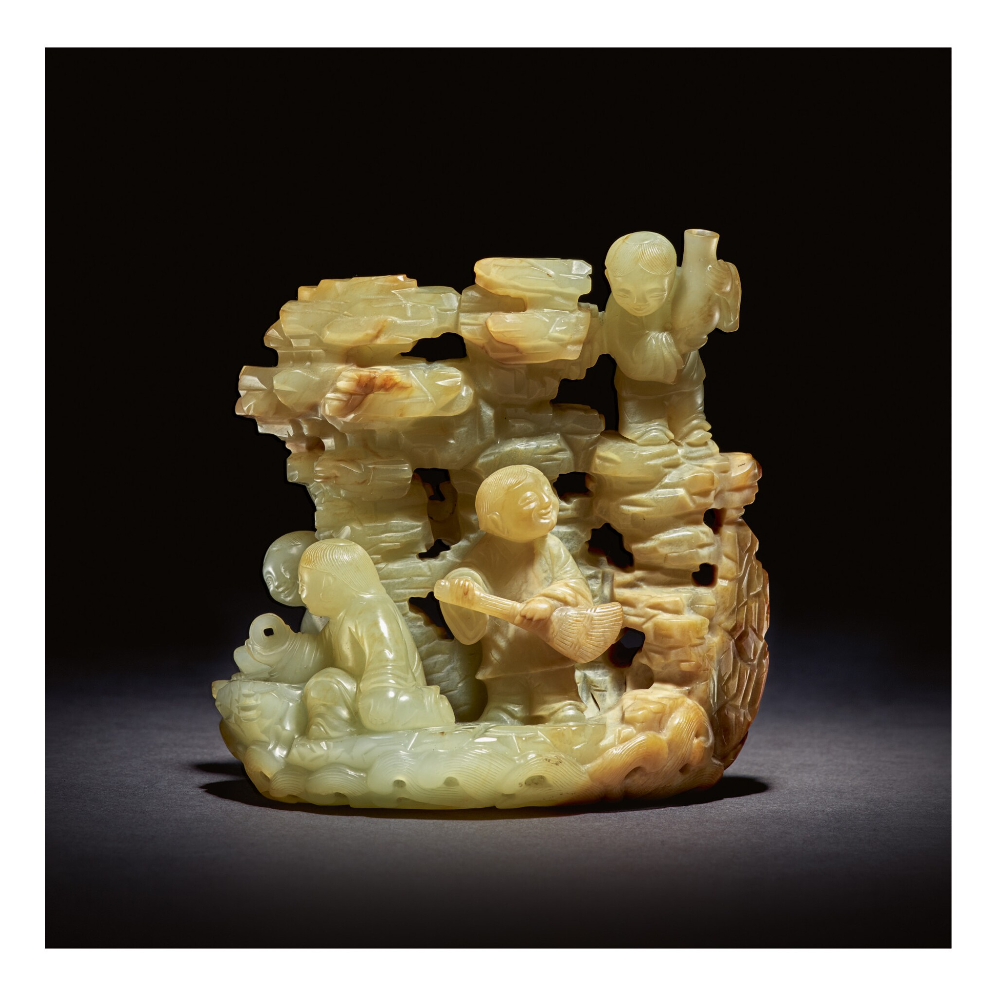View full screen - View 1 of Lot 209. AN EXCEPTIONALLY RARE PALE GREEN AND RUSSET JADE 'DAOIST IMMORTALS' GROUP,  QING DYNASTY, KANGXI / YONGZHENG PERIOD.