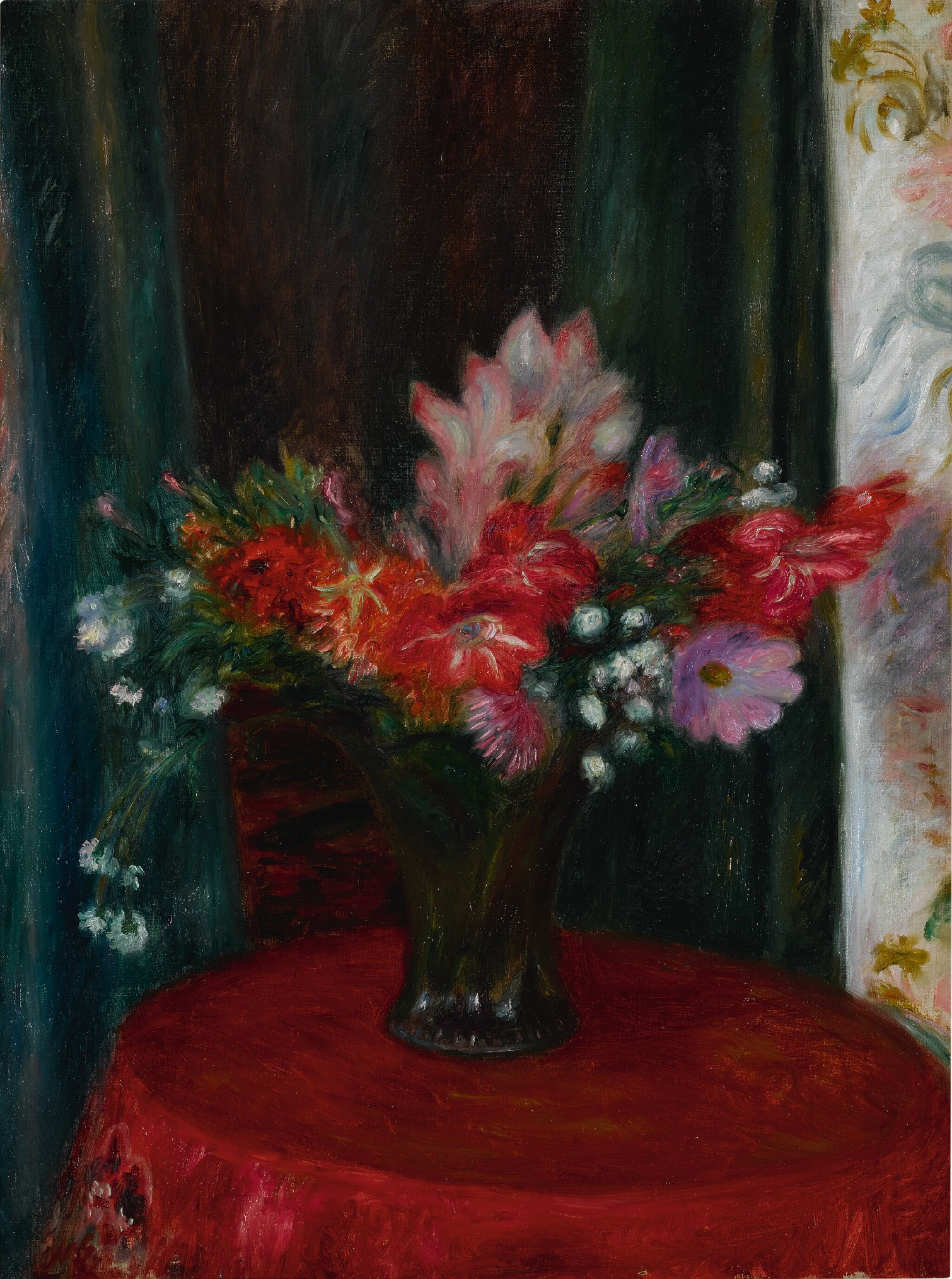 View 1 of Lot 117. Bouquet on Red Tablecloth.