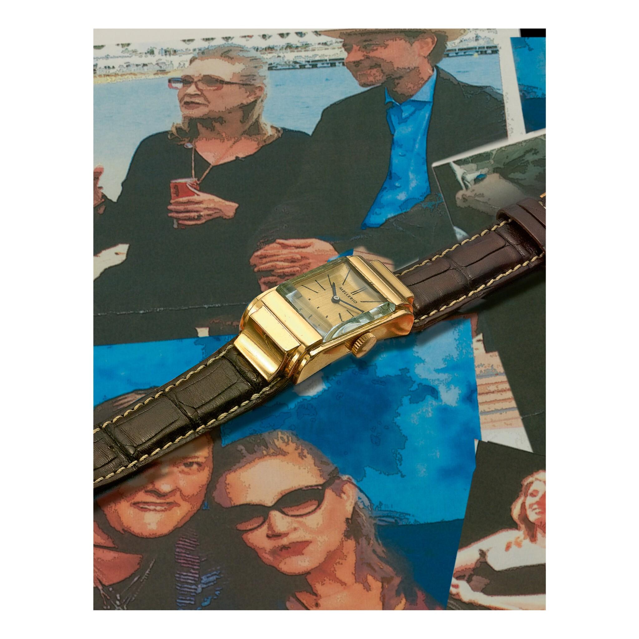 View full screen - View 1 of Lot 844.  MELLERIO | A PINK GOLD RECTANGULAR WRISTWATCH, CIRCA 1975 | 粉紅金腕錶,年份約1975.