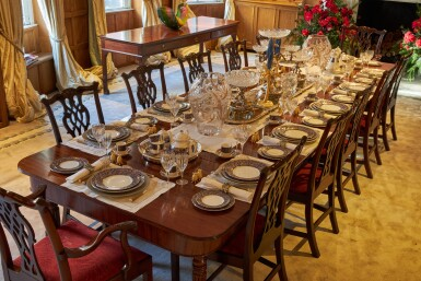 View 4. Thumbnail of Lot 44. An early 19th C Mahogany Dining Table by Gillow & Co. with a set of 12 carved Dining Chairs in the Chippendale Style, and a Thomas Goode 'Stewart' bone china part dinner and dessert service, and an original antique glass from the Thomas Goode archive, various dates.