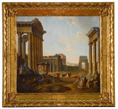 View 2. Thumbnail of Lot 175. A capriccio of Roman ruins with elements from the Forum, including the Temples of Antoninus and Faustina, and Castor and Pollux, Arch of Titus, and Temple of Saturn.