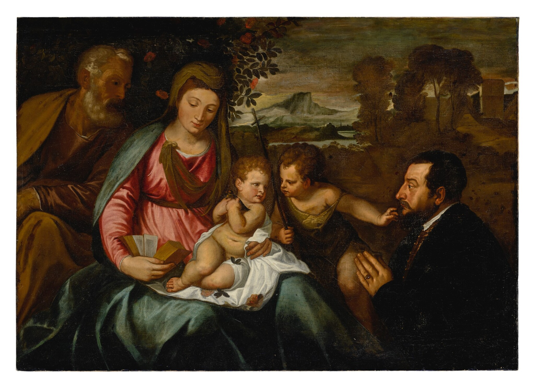 View full screen - View 1 of Lot 577. The Holy Family with Saint John the Baptist and a donor.