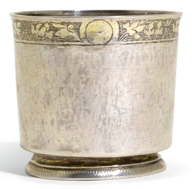 A SWISS PARCEL-GILT SILVER BEAKER, MOST PROBABLY LEONHARD BRAM I, ZURICH, CIRCA 1550