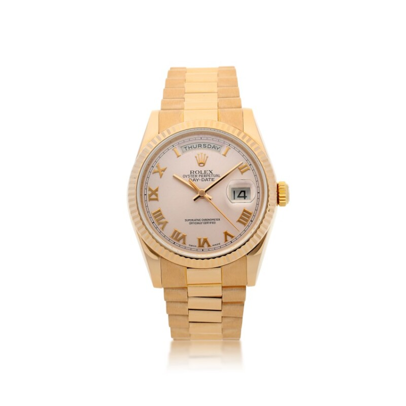 Day-Date, Reference 118235  A Pink Gold Automatic Wristwatch with Day, Date and Bracelet, circa 2005