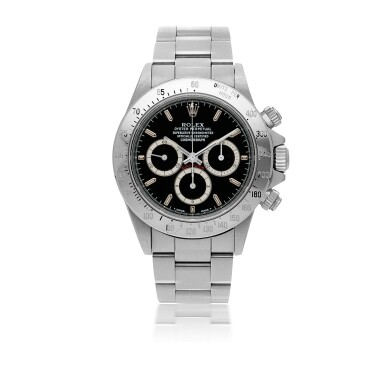 ROLEX | 'ZENITH' DAYTONA, REF 16520 STAINLESS STEEL CHRONOGRAPH WRISTWATCH WITH BRACELET AND 'INVERTED 6' DIAL CIRCA 1988