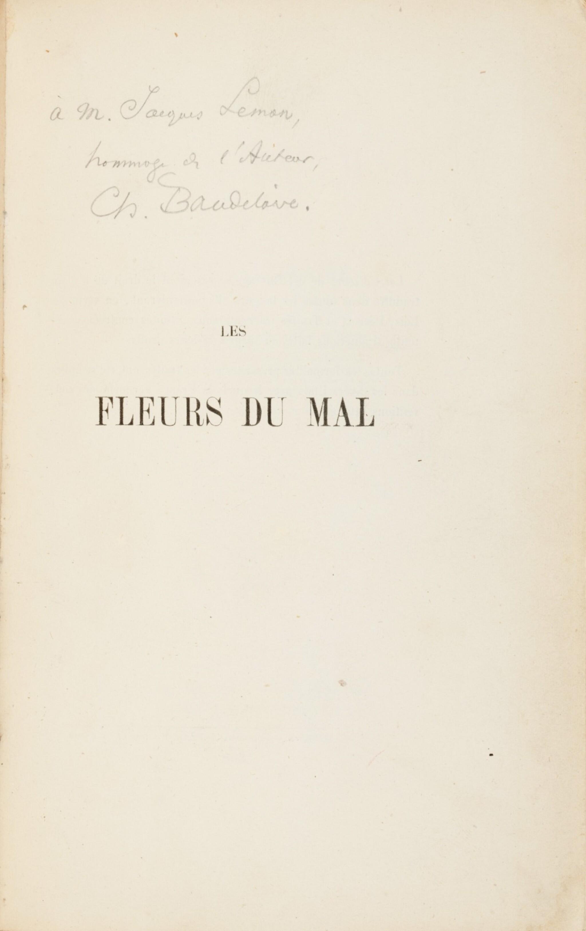 View full screen - View 1 of Lot 67. Les fleurs du mal. 1857. Envoi à J. Leman. Un des 15 ex. connus relié à l'ép. avec envoi. Corrections aut..