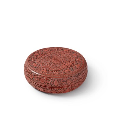 View 2. Thumbnail of Lot 231. A carved cinnabar lacquer 'longevity' box and cover, Qing dynasty, Qianlong period | 清乾隆 剔紅「萬歲長春」蓋盒.