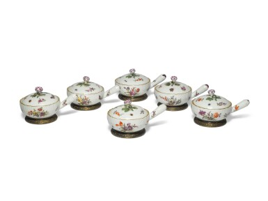 View 2. Thumbnail of Lot 118. A Set of Six Berlin Pan-Form Condiment Boxes and Covers, with Silver-Gilt Mounts, Circa 1760, the Mounts Circa 1900.