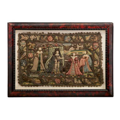 STUMPWORK CUSHION COVER SAID TO REPRESENT KING SOLOMON RECEIVING THE QUEEN OF SHEBA, MID-17TH CENTURY