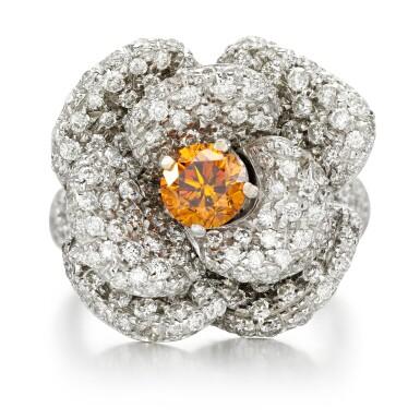 View 1. Thumbnail of Lot 164. Fancy Deep Yellowish-Orange diamond and diamond ring.