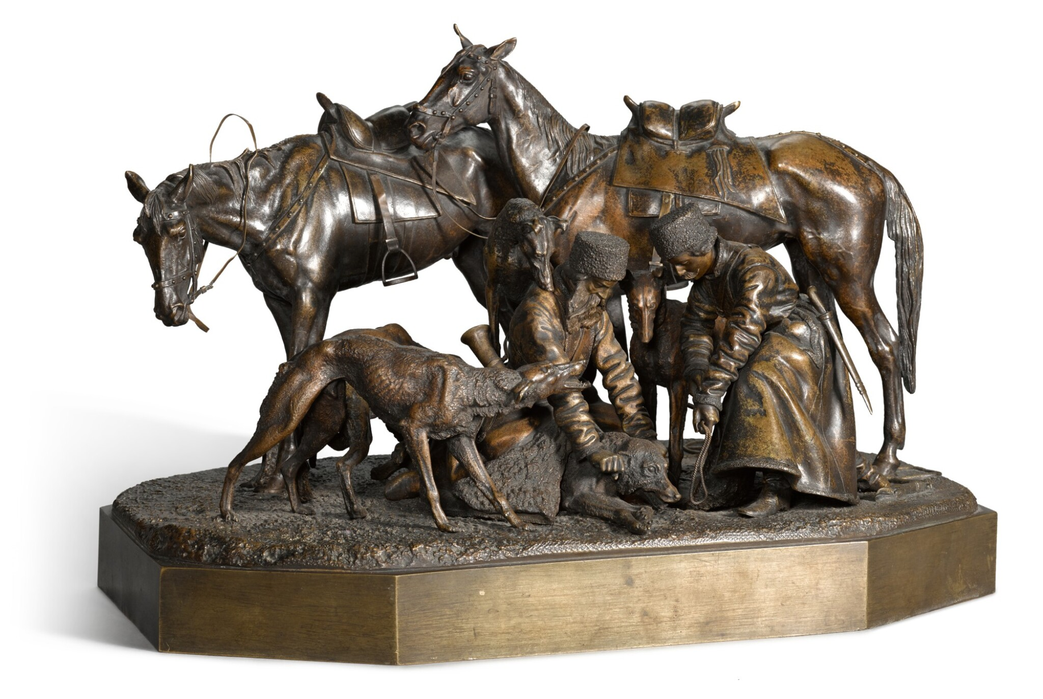 View full screen - View 1 of Lot 293. Binding the Wolf: a bronze figural group, cast by Woerffel, after the model by Nikolai Lieberich (1828-1883), 1884.