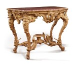 A ROCOCO GILTWOOD CONSOLE WITH INSET BROCATELLE D'ESPAGNE TOP, PROBABLY NORTH ITALIAN, POSSIBLY GENOA, SECOND QUARTER 18TH CENTURY