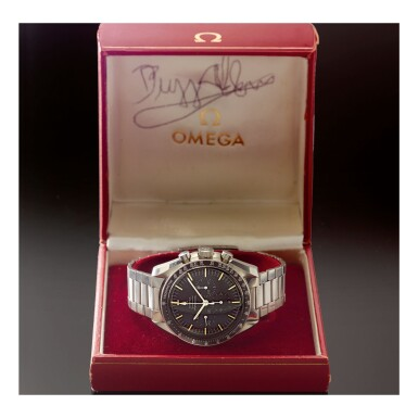 View 2. Thumbnail of Lot 47. OMEGA   SPEEDMASTER REF 105.012-65 'BUZZ ALDRIN', A STAINLESS STEEL CHRONOGRAPH WRISTWATCH WITH BRACELET, MADE IN 1967.
