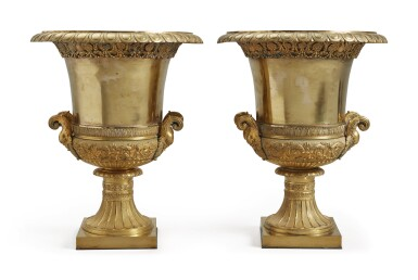 A PAIR OF NEOCLASSICAL STYLE GILT BRONZE AND GILT METAL CAMPANA VASES