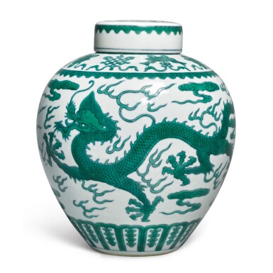 View 1. Thumbnail of Lot 562. A FINE GREEN-ENAMELED 'DRAGON' JAR AND COVER,  JIAQING SEAL MARK AND PERIOD.