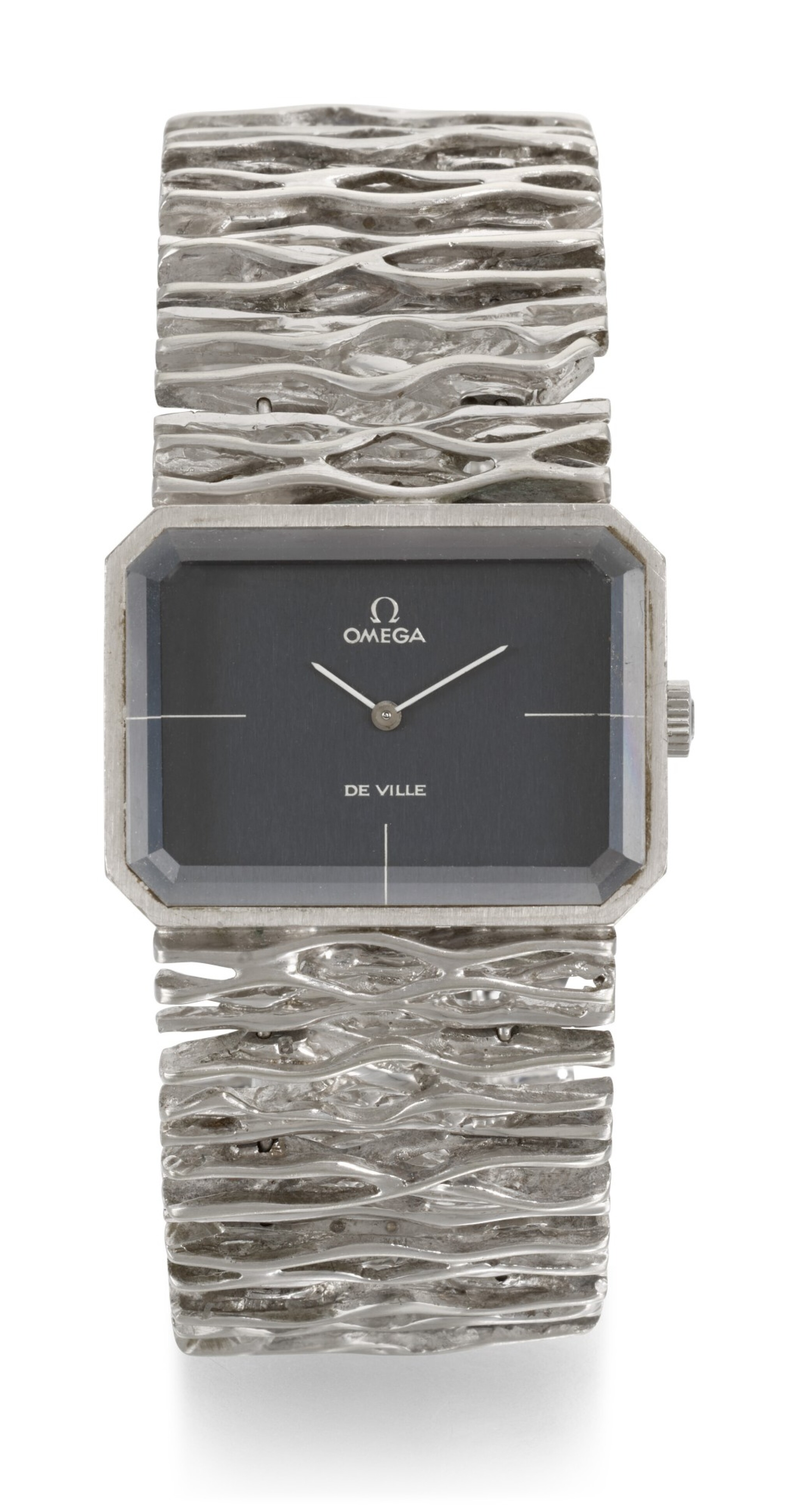 View full screen - View 1 of Lot 1205. OMEGA | DE VILLE JEUX D'OR, REFERENCE 8272, WHITE GOLD RECTANGULAR BRACELET WATCH CIRCA 1973.