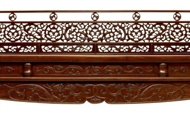 View 3. Thumbnail of Lot 53. AN EXCEPTIONAL AND RARE HUANGHUALI SIX-POST CANOPY BED MING DYNASTY, 17TH CENTURY | 明十七世紀 黃花梨六柱透雕螭龍瑞獸紋圍子架子床.