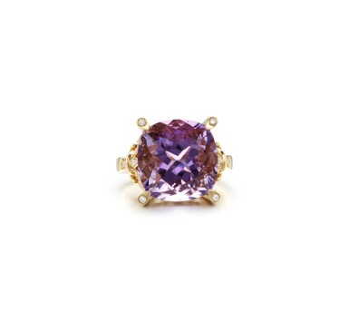 View 1. Thumbnail of Lot 16. AMETHYST AND DIAMOND RING.