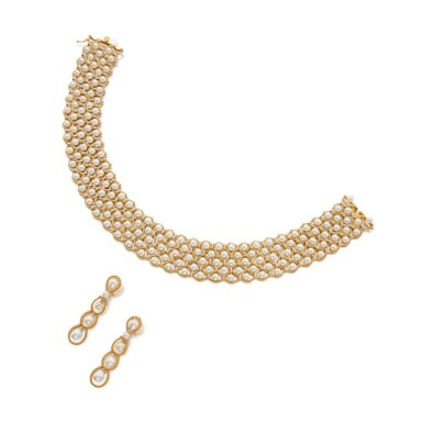 View 1. Thumbnail of Lot 29. Gold and Cultured Pearl Choker-Necklace and Pair of Earclips.