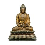 A gilt-lacquer bronze figure of seated Buddha, 17th / 18th century