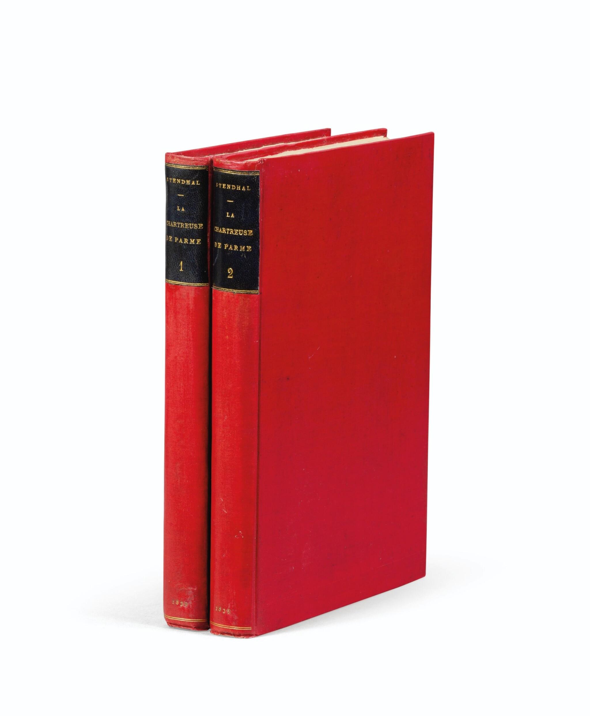 View full screen - View 1 of Lot 177. La Chartreuse de Parme. 1839. 2 vol., percaline rouge. E.O. Ex des Goncourt. Lettre jointe de Stendhal.