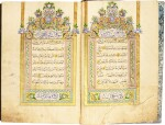 A LARGE ILLUMINATED QUR'AN, COPIED BY AHMED AL-ILHAMI, STUDENT OF ALI AL-HAMDI, STUDENT OF OSMAN WALI, KNOWN AS DAMAD AL-'AFIF, TURKEY, OTTOMAN, DATED 1270 AH/1853-54 AD