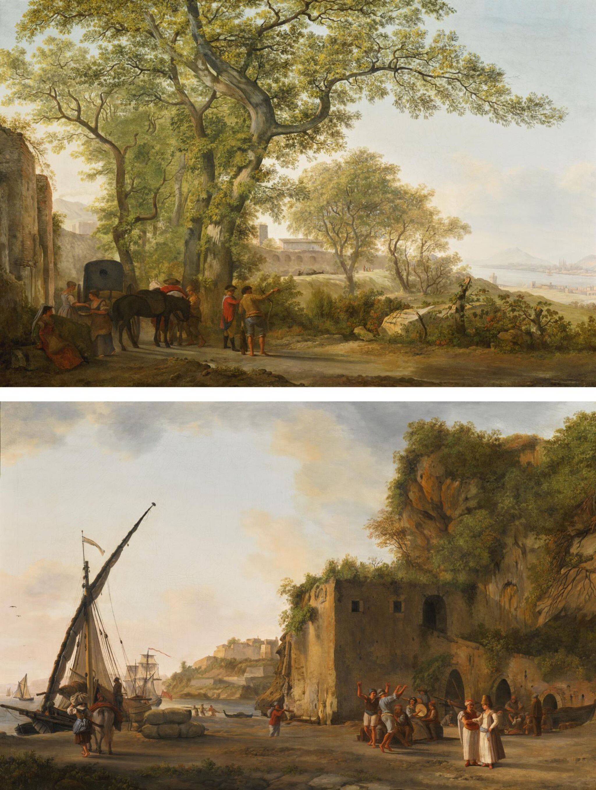 View full screen - View 1 of Lot 176. ABRAHAM-LOUIS-RODOLPHE DUCROS | The Via Appia near Formia, with travellers and peasants by the walls of Castellone(?), the bay of Gaeta and Mount Circeo beyond; and A port with Maltese merchants and sailors, the fort of Gaeta beyond.
