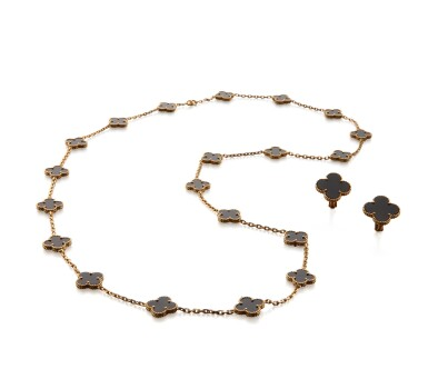 View 2. Thumbnail of Lot 23. ONYX 'ALHAMBRA' NECKLACE AND PAIR OF EARCLIPS, VAN CLEEF & ARPELS.