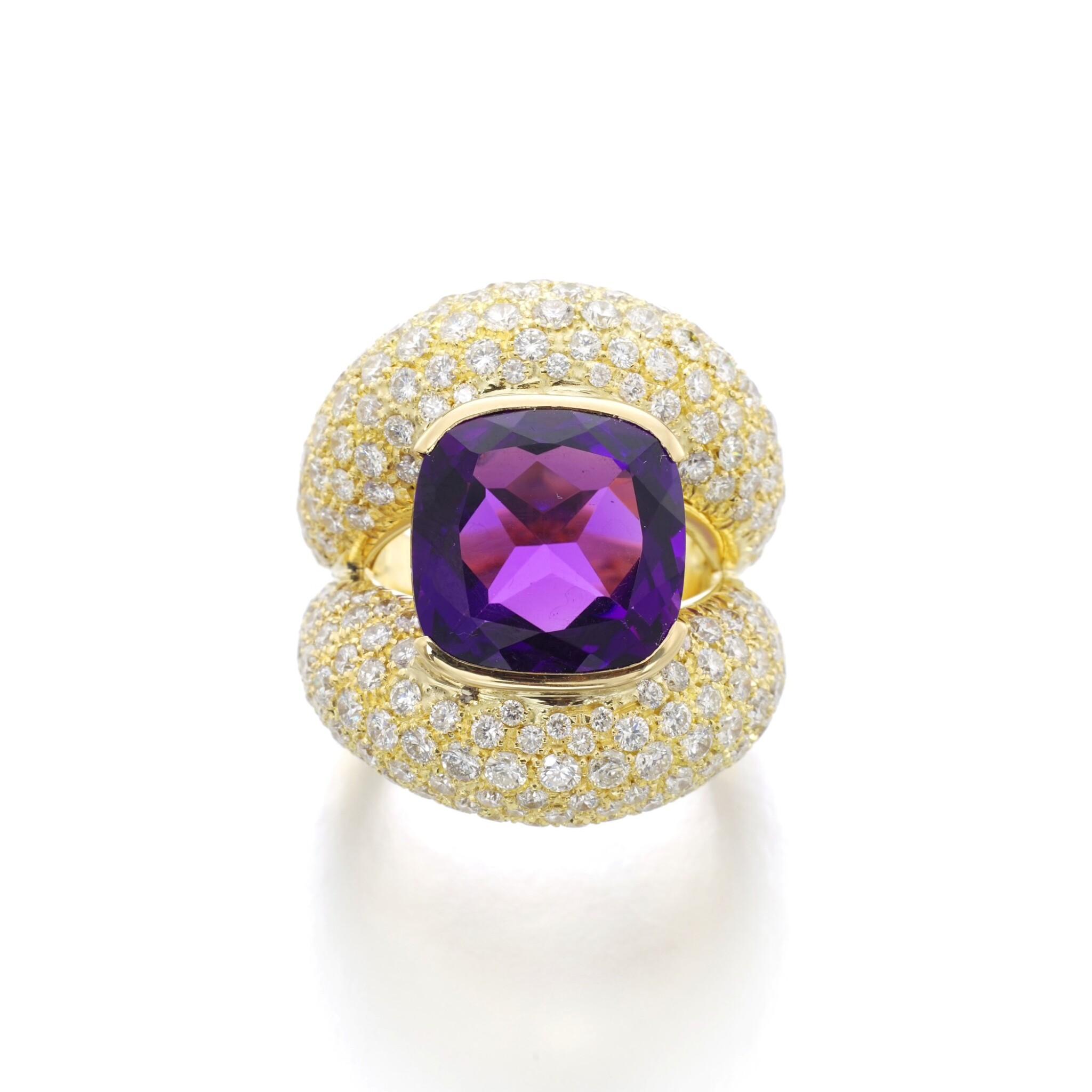 View full screen - View 1 of Lot 3. MICHELE DELLA VALLE | AMETHYST AND DIAMOND RING.