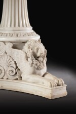 A GERMAN CARVED WHITE CARRARA MARBLE CENTRE TABLE, ATTRIBUTED TO K.F. SCHINKEL CIRCA 1830