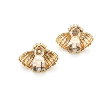 View 3. Thumbnail of Lot 102. Pair of gold and diamond ear clips.