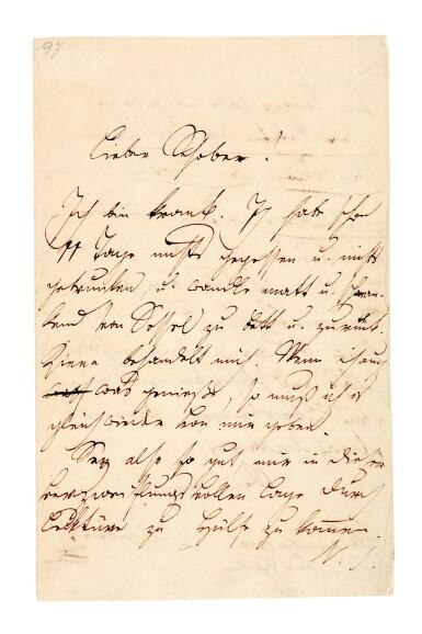 View 1. Thumbnail of Lot 55. F. Schubert. The composer's last surviving letter, written to his close friend Franz von Schober, 1828.