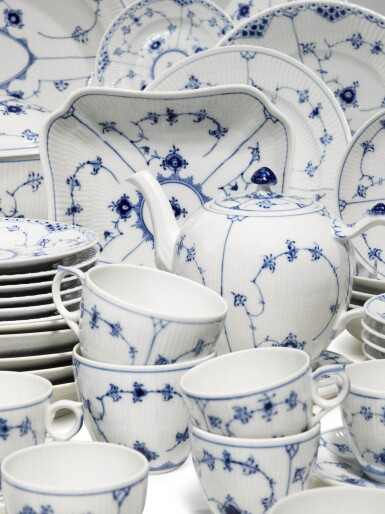 View 3. Thumbnail of Lot 22. A Royal Copenhagen 'Blue Lace' Dinner, Tea, and Coffee Service, Modern.