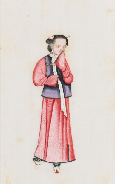 View 16. Thumbnail of Lot 163. A set of fourteen Chinese paintings on silk, Canton, 19th century.