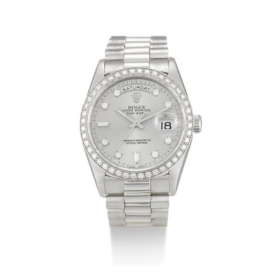 ROLEX  |  DAY-DATE, REFERENCE 18346,  A PLATINUM AND DIAMOND-SET WRISTWATCH WITH DAY, DATE AND BRACELET, CIRCA 1991