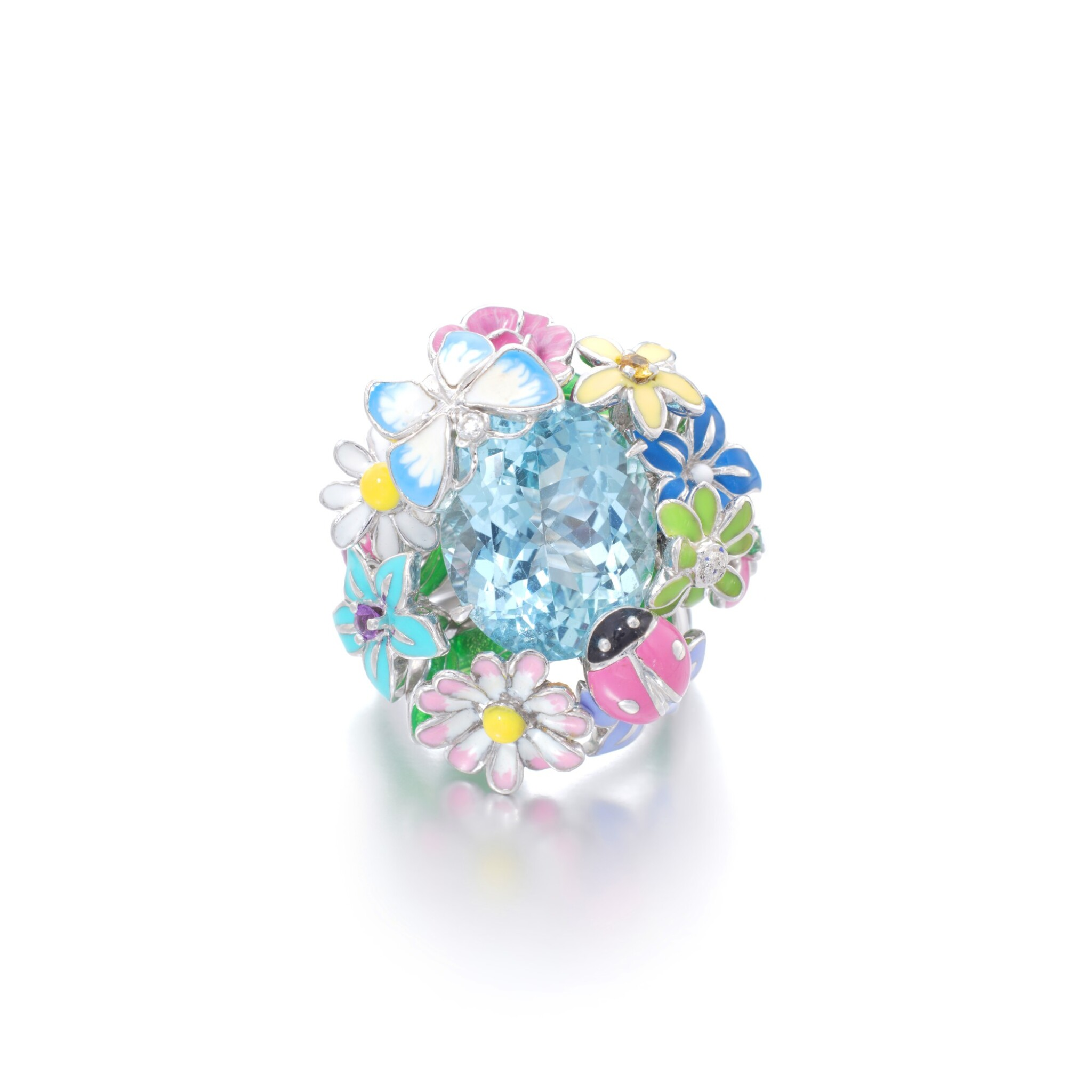 View full screen - View 1 of Lot 21. Gem set and diamond ring, 'Diorette'.